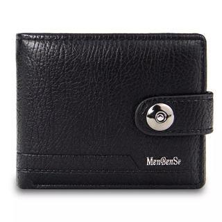 レザー財布 ブラック(折り財布)