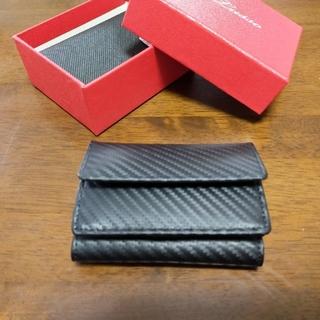 本革カーボンレザー三つ折りミニウォレット:ブラック(折り財布)