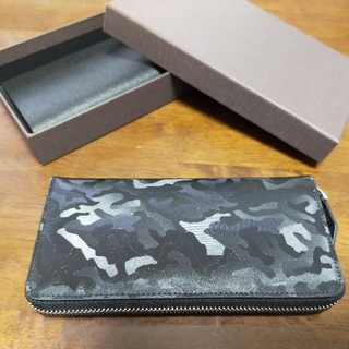 牛革レザー型押しカモフララウンドロングウォレット(長財布)