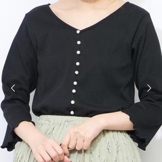 natural couture - 未使用 ナチュラルクチュール パール カットソー ブラック