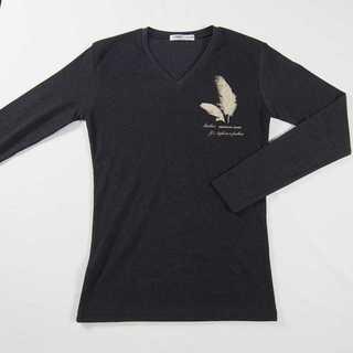 【新品】 Vネック ワンポイント 長袖 ダークグレー M (T12)(Tシャツ/カットソー(七分/長袖))
