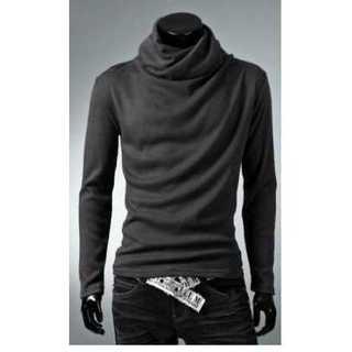 Tシャツ 長袖 アフガン タートルネック カジュアル メンズ ダーク グレー(Tシャツ/カットソー(七分/長袖))