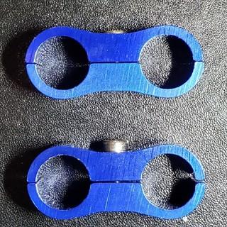 2個セット 青 ブルー AN6 ホースクランプ オイルクーラー等(パーツ)