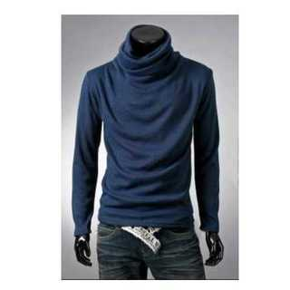 Tシャツ 長袖 アフガン タートルネック カジュアル メンズ シンプル ネイビー(Tシャツ/カットソー(七分/長袖))