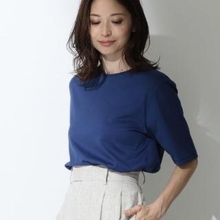デミルクスビームス(Demi-Luxe BEAMS)のDemi-Luxe BEAMS ATON パーフェクトスリーブTシャツ ブルー(Tシャツ(半袖/袖なし))