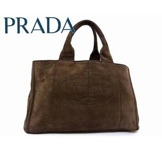 PRADA - 極美品 プラダ ロゴ カナパ スエード ゴールド金具 トートバッグ レディース