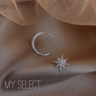 AHKAH - セール♪ スタームーンピアス⭐︎アシンメトリー シルバー czダイヤ