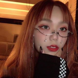 アンダーフレーム ファッションメガネ ゴールド 韓国 ファッション(サングラス/メガネ)