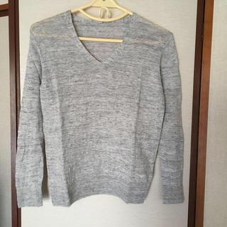 ムジルシリョウヒン(MUJI (無印良品))の無印良品🤗フレンチリネンVネック長袖セーター Sサイズ 杢グレー(ニット/セーター)