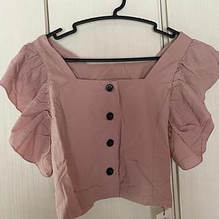 グレイル(GRL)のGRL * フリルスリーブフロントボタンブラウス ブルー/ピンク(シャツ/ブラウス(半袖/袖なし))