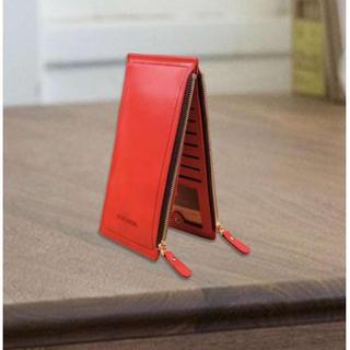 PU レザー カードケース ダブルファスナー レッド(長財布)