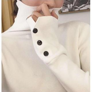 ✰送料無料✰ ハイネック ニット トップス ホワイト(ニット/セーター)