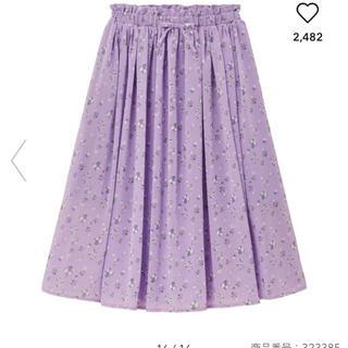 ジーユー(GU)のGIRLSシフォンフラワープリントスカート(スカート)