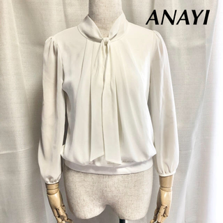 ANAYI - ANAYI  美品  シフォンボウタイブラウス 白 とろみ素材