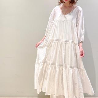 gelato pique - ジェラートピケ♡コットンシフォン ギャザー ドレス ワンピース