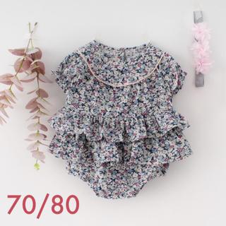 春夏  70/80 半袖 小花柄 ウエストフリル ロンパース ヘアバンド付