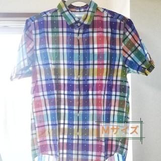 グラニフ(Design Tshirts Store graniph)の半袖シャツ ワイシャツ カラフル チェック  男女兼用Mサイズ 春夏 再掲載(シャツ/ブラウス(半袖/袖なし))