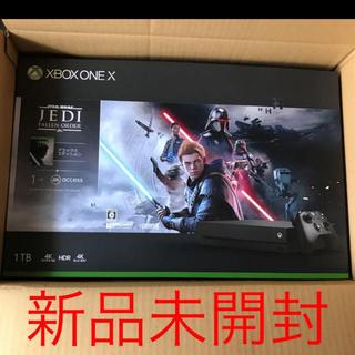 エックスボックス(Xbox)の【新品】Xbox One X(スターウォーズ ジェダイ:フォールンオーダー同梱)(家庭用ゲーム機本体)