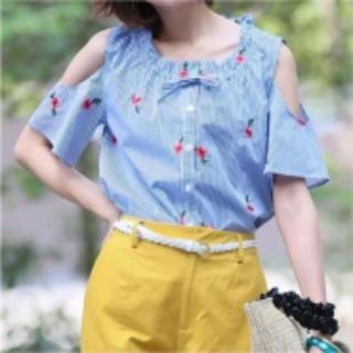 クリア(clear)のclear ストライプ花柄刺繍シャツ(シャツ/ブラウス(半袖/袖なし))