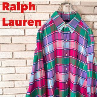 Ralph Lauren - ラルフローレン ボタンダウン シャツ ワンポイント 刺繍 ロゴ チェック 90s