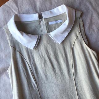 フォクシー(FOXEY)の美品♡ FOXEY 白襟付き リネン ワンピース Grasse フォクシー 白衿(ひざ丈ワンピース)