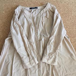 バンドカラー ロングシャツ ワンピース M