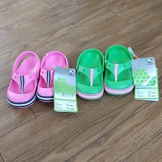 crocs - 🐊crocs🐊    ピンク色&グリーン2足セット