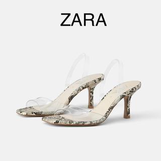 ZARA - 《新品未使用》ZARA アニマル柄&ビニール素材ヒールサンダル