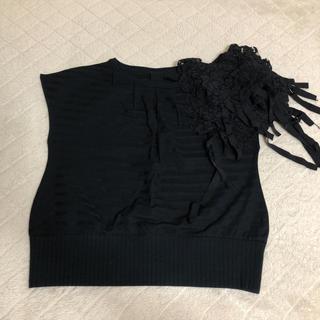 クリーン(CLEAN)の美品 clean2 フリル ブラックカットソー(カットソー(半袖/袖なし))