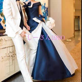 エリマツイ(ERI MATSUI)のエマリーエ カラードレス 紺白 リボンボンネ(ウェディングドレス)