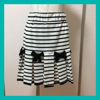 doll up oops - ドールアップウップス リボン付き ボーダー プリーツ スカート