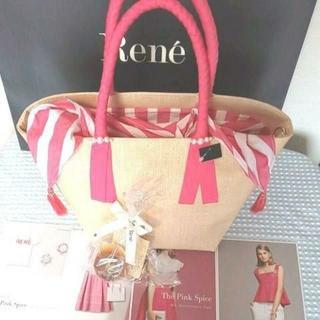ルネ(René)の新品同様2019Reneルネ銀座9周年アニバーサリー限定バスケットバッグ(かごバッグ/ストローバッグ)