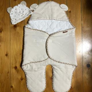ニシマツヤ(西松屋)の秋冬生まれ予定の赤ちゃん専用♡おくるみと帽子のセット(おくるみ/ブランケット)