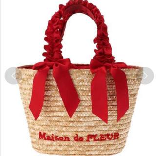 メゾンドフルール(Maison de FLEUR)のmaison de fleur ダブルリボン カゴバッグ(かごバッグ/ストローバッグ)