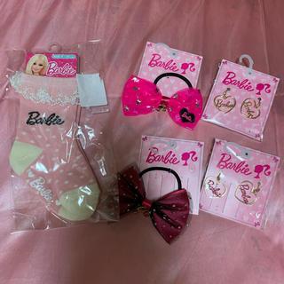 バービー(Barbie)のバービー  靴下 ソックス barbie コラボ イヤリング リボン ヘアゴム(靴下/タイツ)