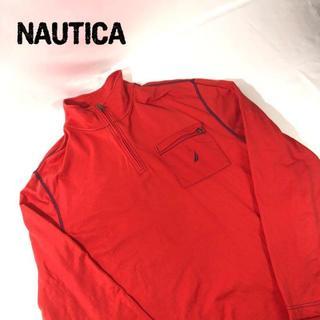 ノーティカ(NAUTICA)のノーティカ NAUTICA 刺繍 ハーブジップ ロンT レッド ビッグサイズ L(Tシャツ/カットソー(七分/長袖))