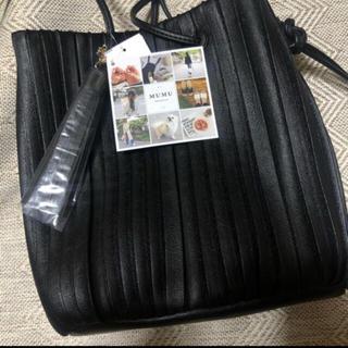 シマムラ(しまむら)の【新品】しまむら MUMU プリーツバッグ グレージュ プリーツ 巾着 バッグ(ショルダーバッグ)
