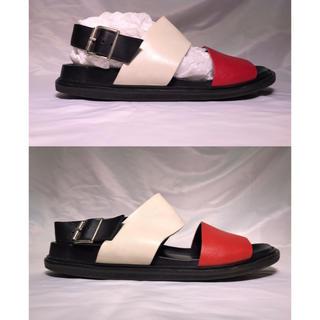 マルニ(Marni)のMARNI Calf Leather Sandal RED/WHT/BLK 44(サンダル)