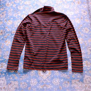 ジョンローレンスサリバン(JOHN LAWRENCE SULLIVAN)のジョンローレンスサリバン 肩ジッパー ボーダー柄 タートルネック (Tシャツ/カットソー(七分/長袖))