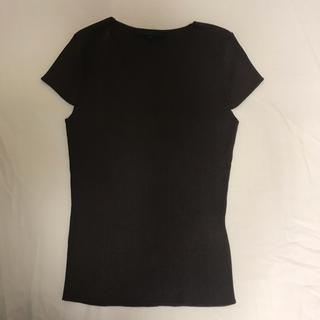 アナイ(ANAYI)の新品未使用ANAYI美ライン茶色日本製VネックリブカットソーTシャツブラウス(Tシャツ/カットソー(半袖/袖なし))