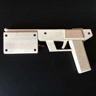 【手作り】 木製 レーザーサイト付き  10連発輪ゴム銃(モデルガン)
