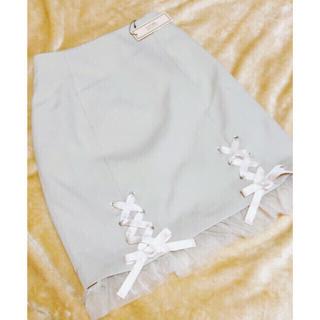 イートミー(EATME)のEATME ヘムレースアップスカート(ベージュ)(ミニスカート)