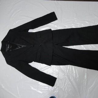 インタープラネット(INTERPLANET)のシルク毛5万★インタープラネット女性セットアップ スーツ黒M★ジャケット パンツ(スーツ)