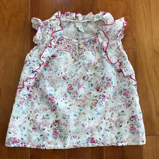 ザラキッズ(ZARA KIDS)のZARA 花柄ノースリーブシャツ サイズ104(ブラウス)