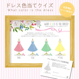 ドレス色当てクイズ♡結婚式 披露宴 花嫁 ペーパーアイテム 二次会 カラードレス(ウェルカムボード)