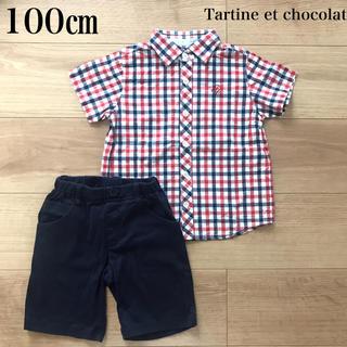 タルティーヌ エ ショコラ(Tartine et Chocolat)の男の子 タルティーヌエショコラ 半袖シャツ&ハーフパンツセット 100(ブラウス)
