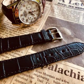 ロレックス(ROLEX)の⭐️ロレックス時計ベルト新品ワニ革アリゲーター黒(レザーベルト)