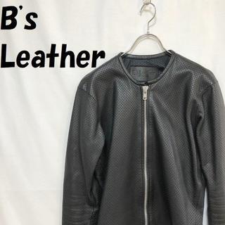 B's Leather BIKERS メッシュ 牛革 ライダース 黒 サイズⅢ(ライダースジャケット)