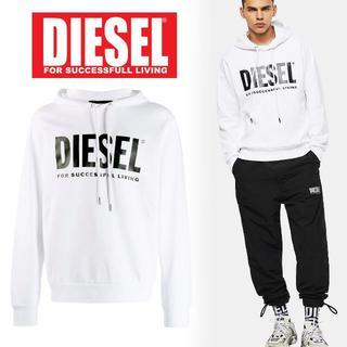 ディーゼル(DIESEL)の5 DIESEL ホワイト ロゴ スウェット パーカー/size XL(パーカー)