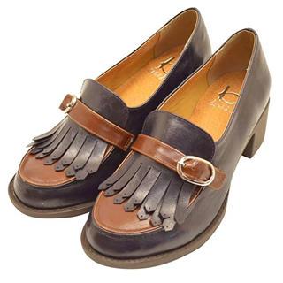アシナガオジサン(あしながおじさん)の byあしながおじさん キルトローファー  ネイビー 22.5cm(ローファー/革靴)